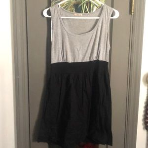 Gray and black dress with elastic waist band